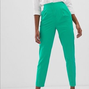 ASOS tall green high waisted cigarette pants